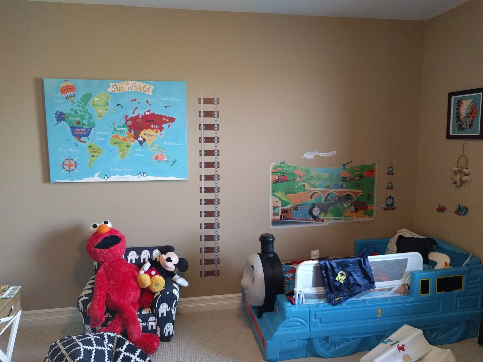 thomas and friends and elmo themed little boys bedroom