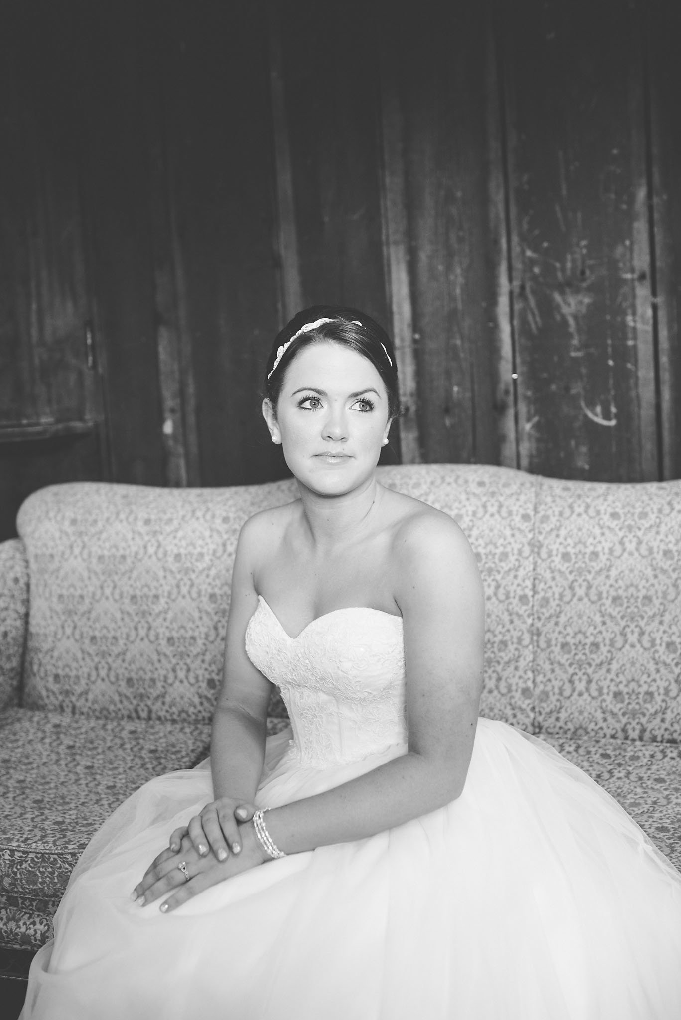 classic bridal portrait, bride in black and white, Vermont wedding photographer