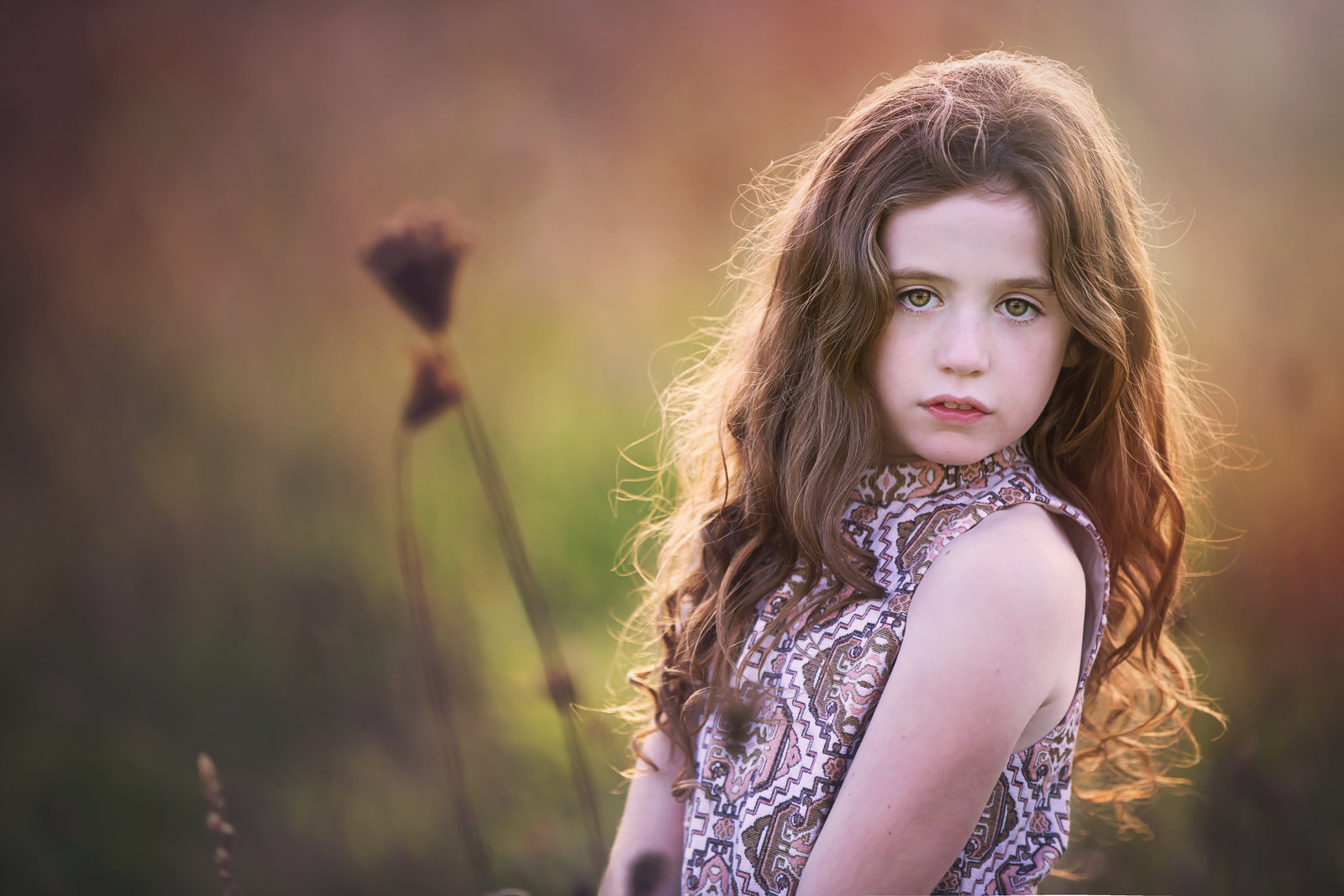A brunnette girl in the last day sun by Children's photographer Jessica Elisze. Norwich, Norfolk.