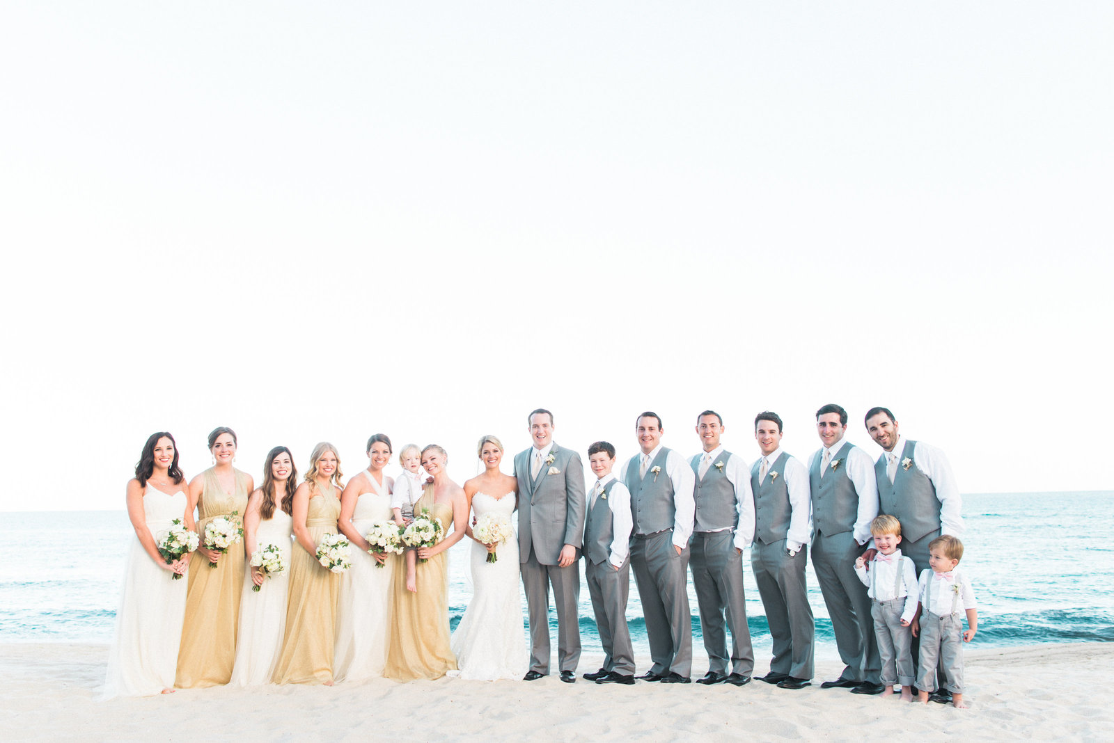 Cabo Mexico Destination Wedding, Wedding Party on Beach, Fine Art Film