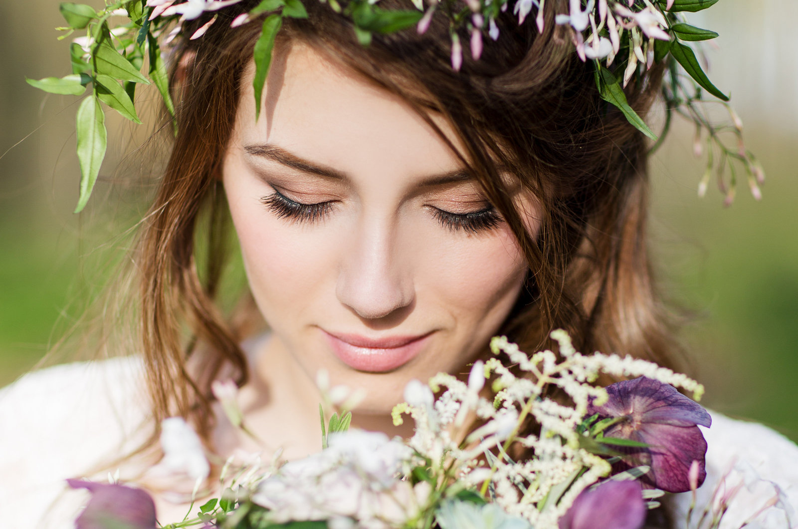 Styled Shoot photo of bride  in flower crown in woodland  at Goodwood estate