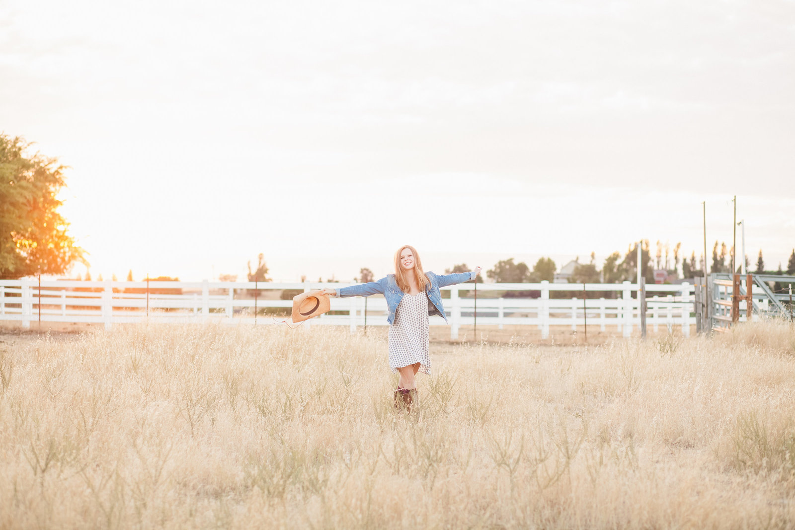 Folsom High School Senior girl in meadow in Sloughhouse CA