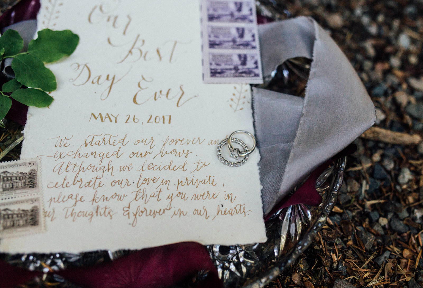Boho wedding invitation wedding details elopement at Franklin Falls in Seattle, WA