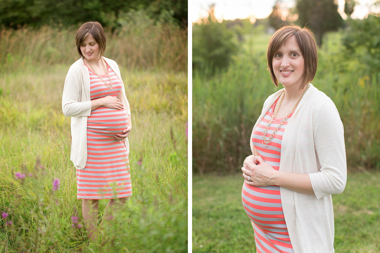Woman wearing beautiful dress poses for maternity