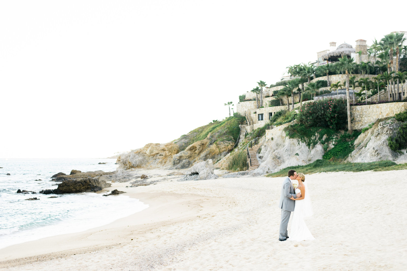 Cabo Mexico Destination Wedding, Bride and Groom on beach,  Fine Art Film