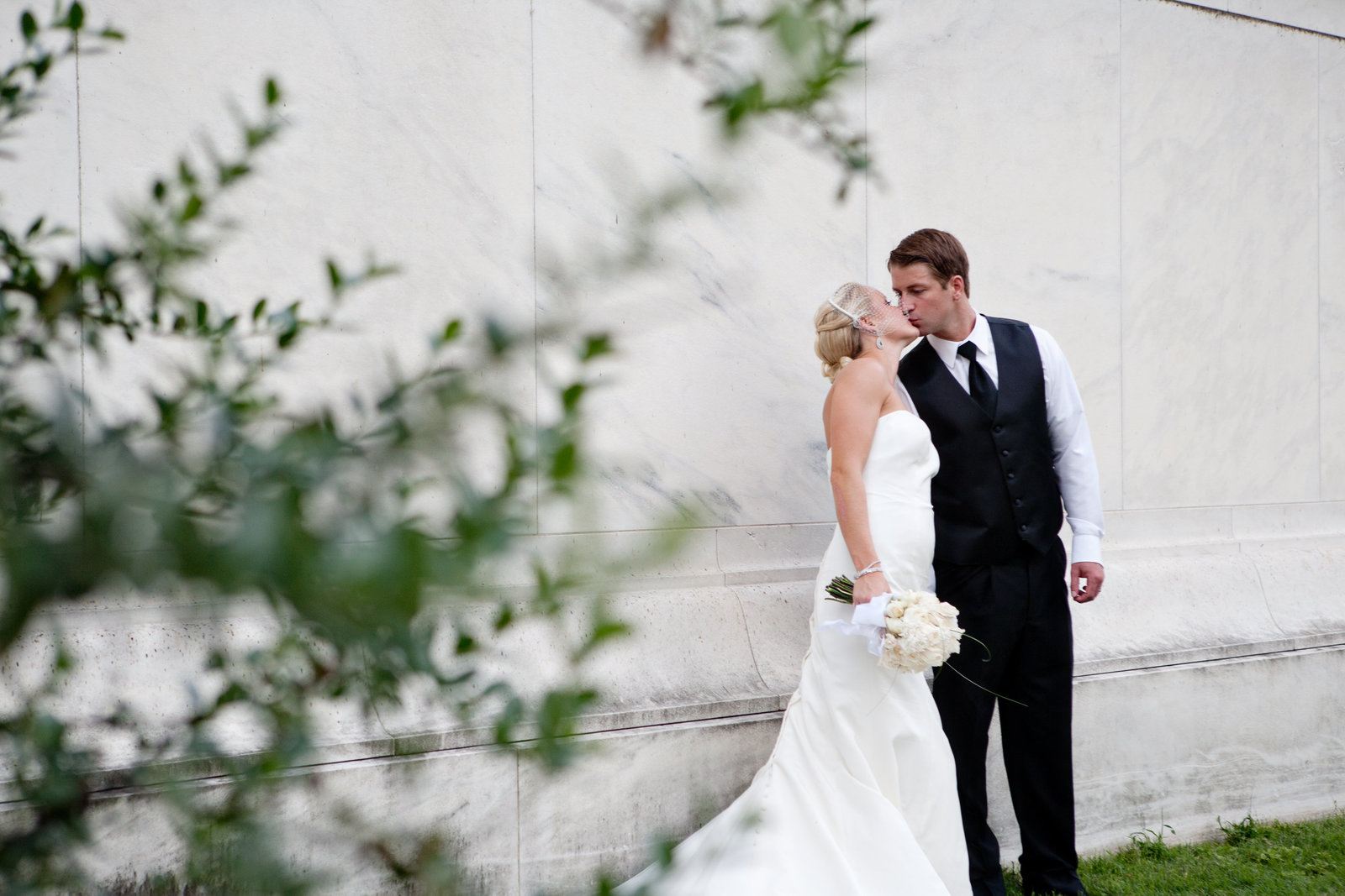 Wedding Portrait at Jefferson Memorial