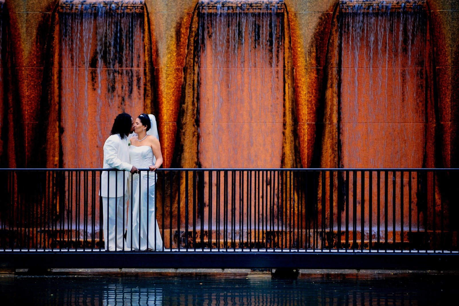 Photo of the Bride & Groom across the water in Indianapolis, IN