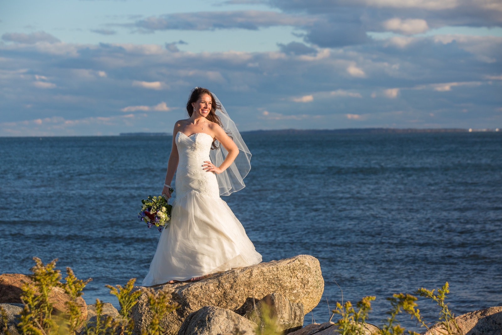 beautiful bride at the beach