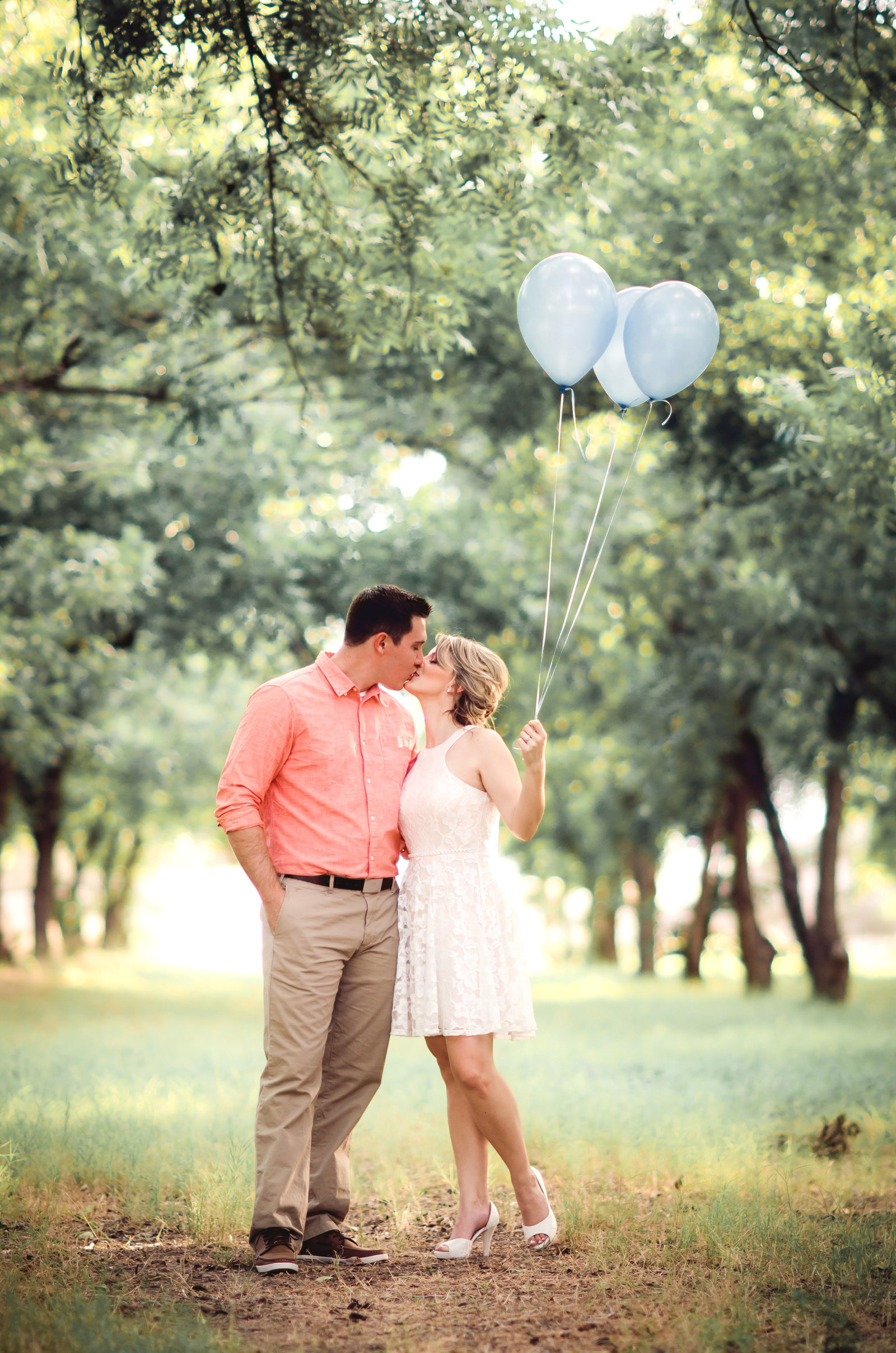 Tucson Pecan Orchard Engagement photo of bride and groom to be