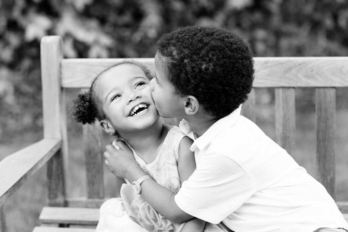 Kids Laughing in Black and White