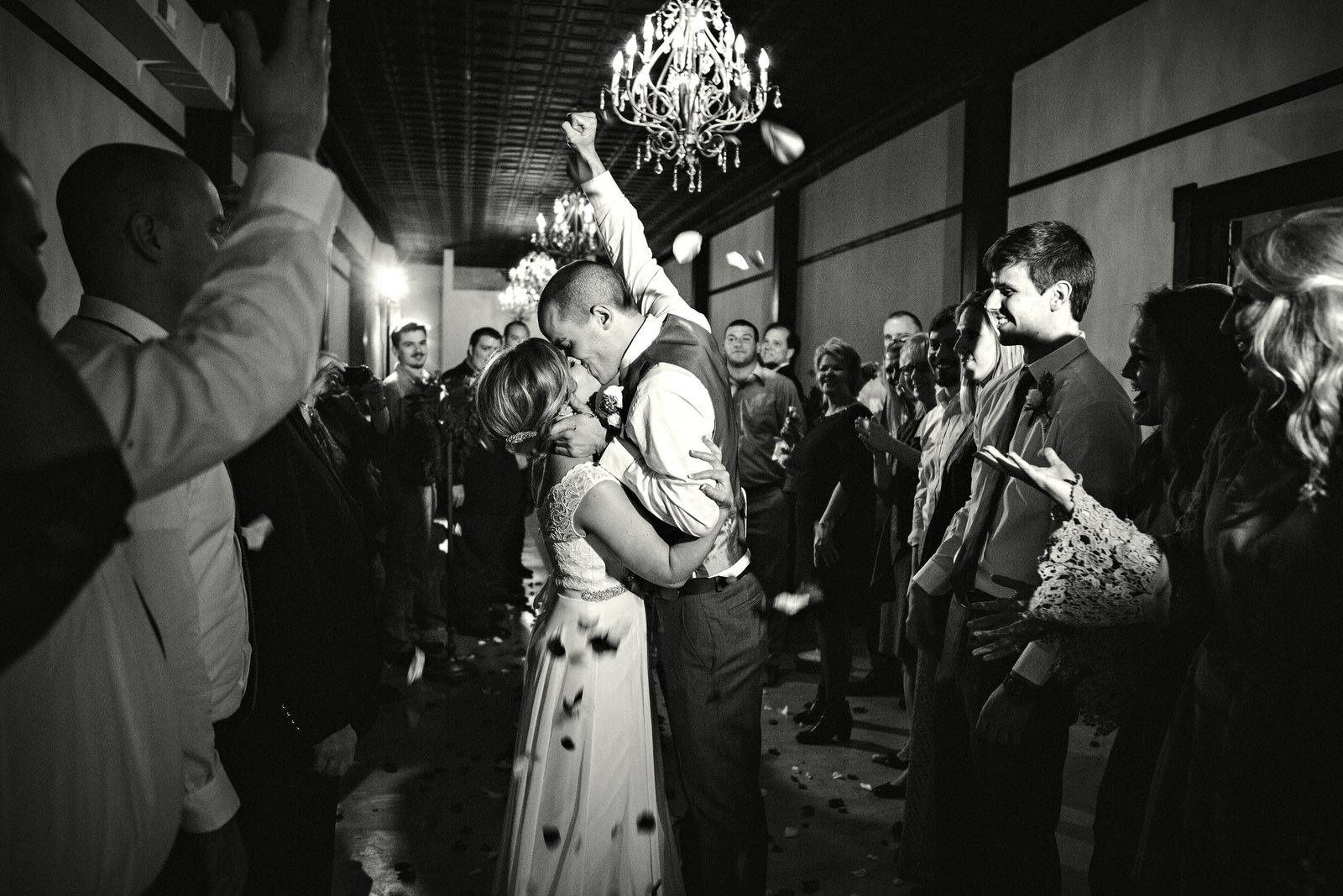 Exiting the reception at Elizabeth Claires Wedding Venue by Knoxville Wedding Photographer, Amanda May Photos.