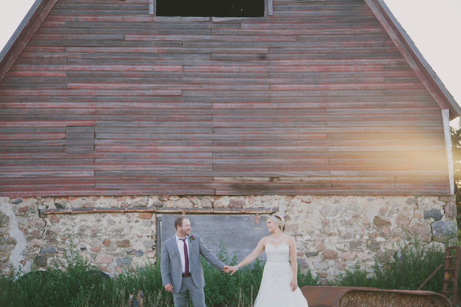 Bride and Groom by Barn Rustic Wedding