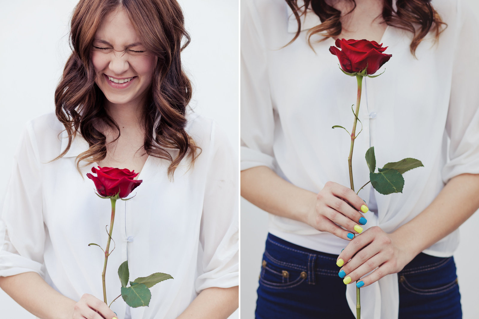 close up of Portland  grad senior photos with rose as a prop  | Susie Moreno Photography