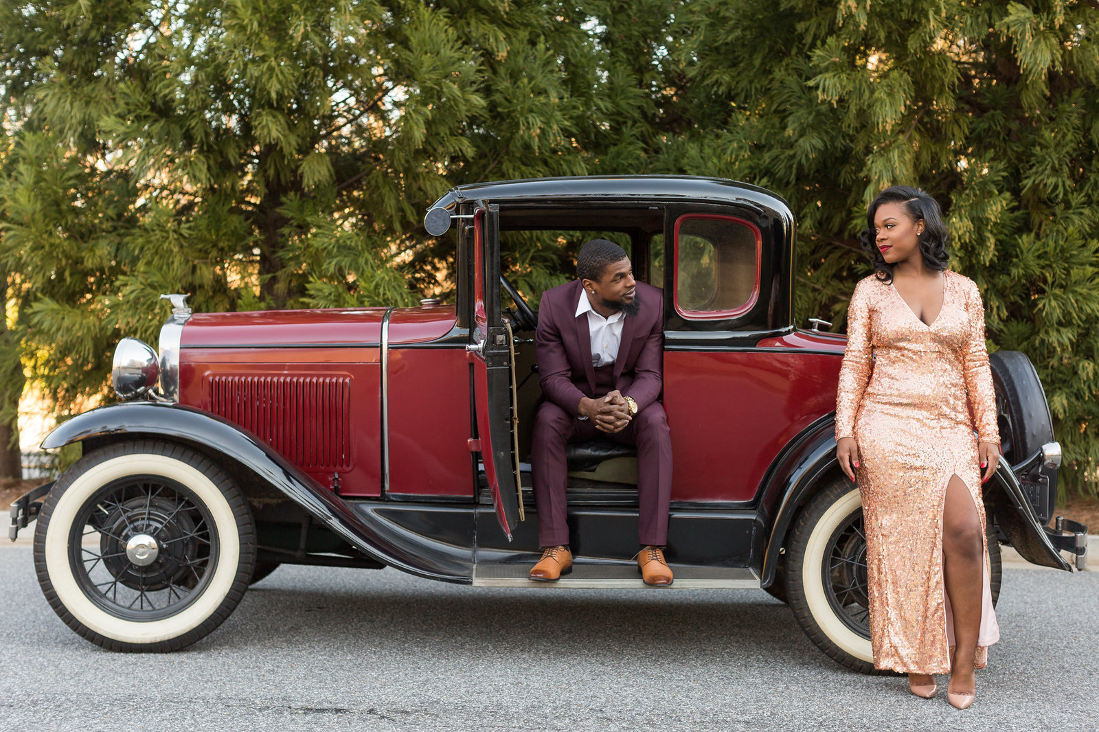 Old Hollywood themed engagement Mecca Gamble Photography