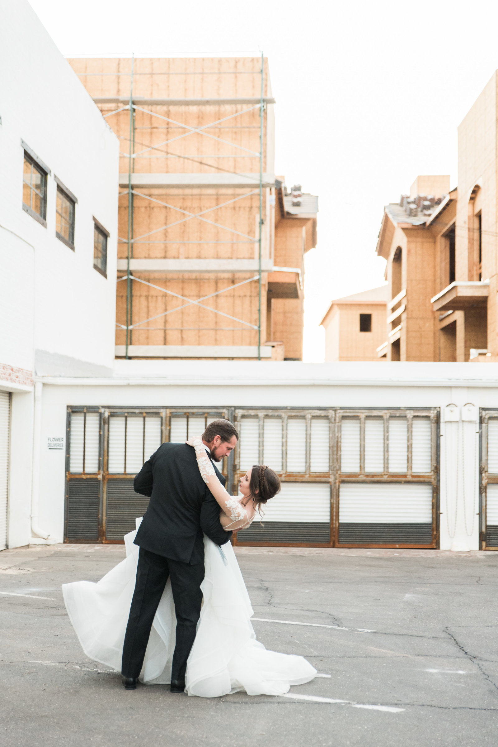 Downtown Tucson Bride and Groom dancing at wedding photo
