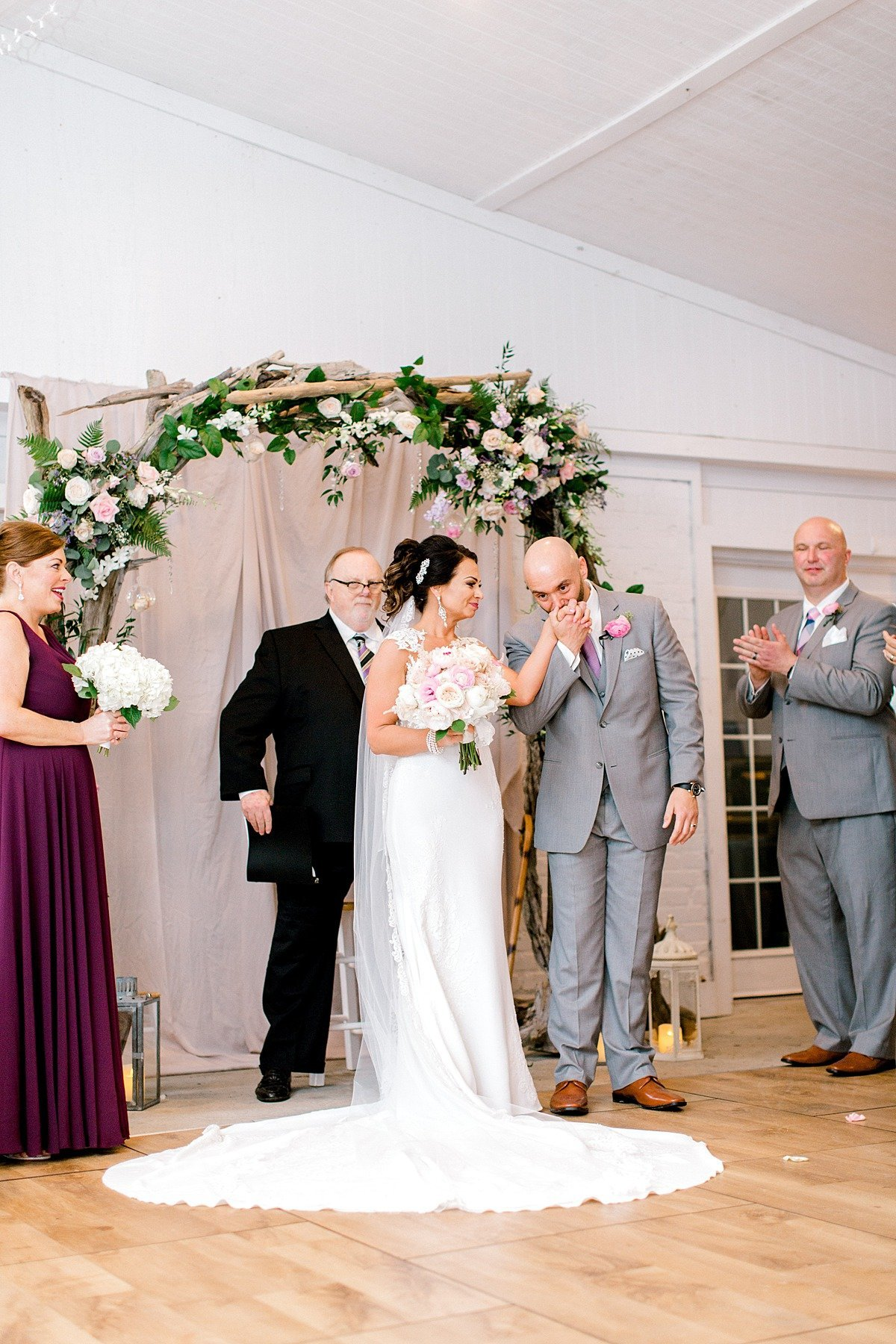 Elegant Spring Pink Abilena Plantation Indoor Rainy Wedding New Bern NC Andrew & Tianna Photography-64
