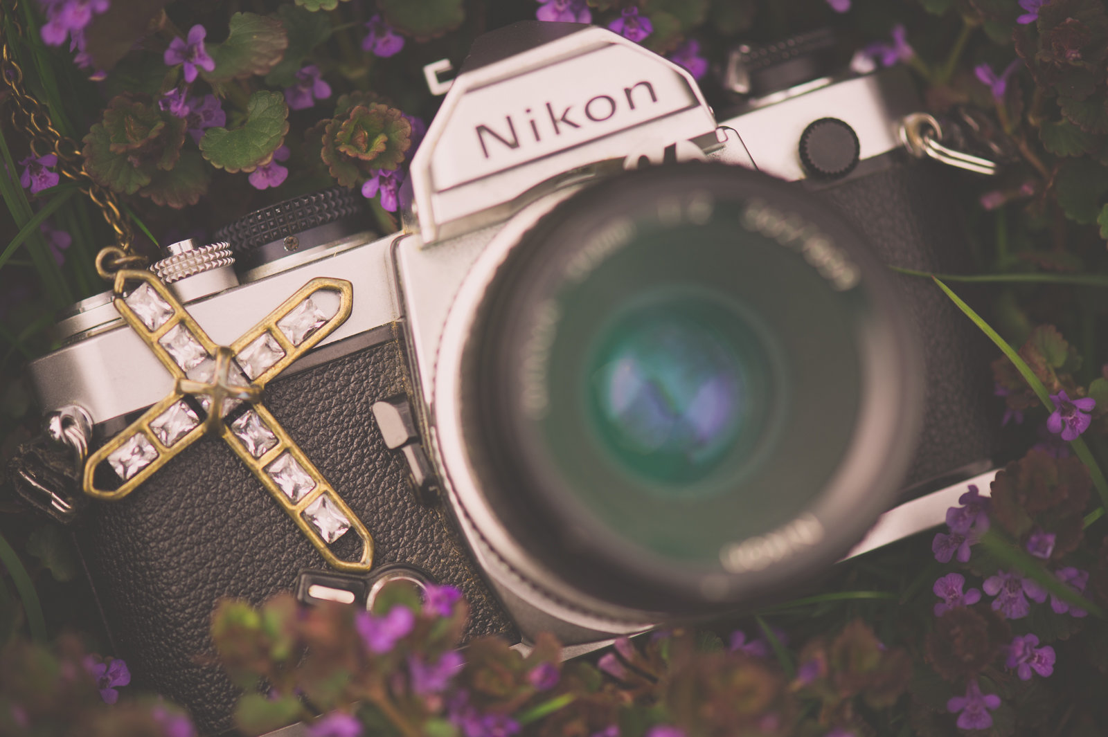 nikon film camera in purple flowers with cross