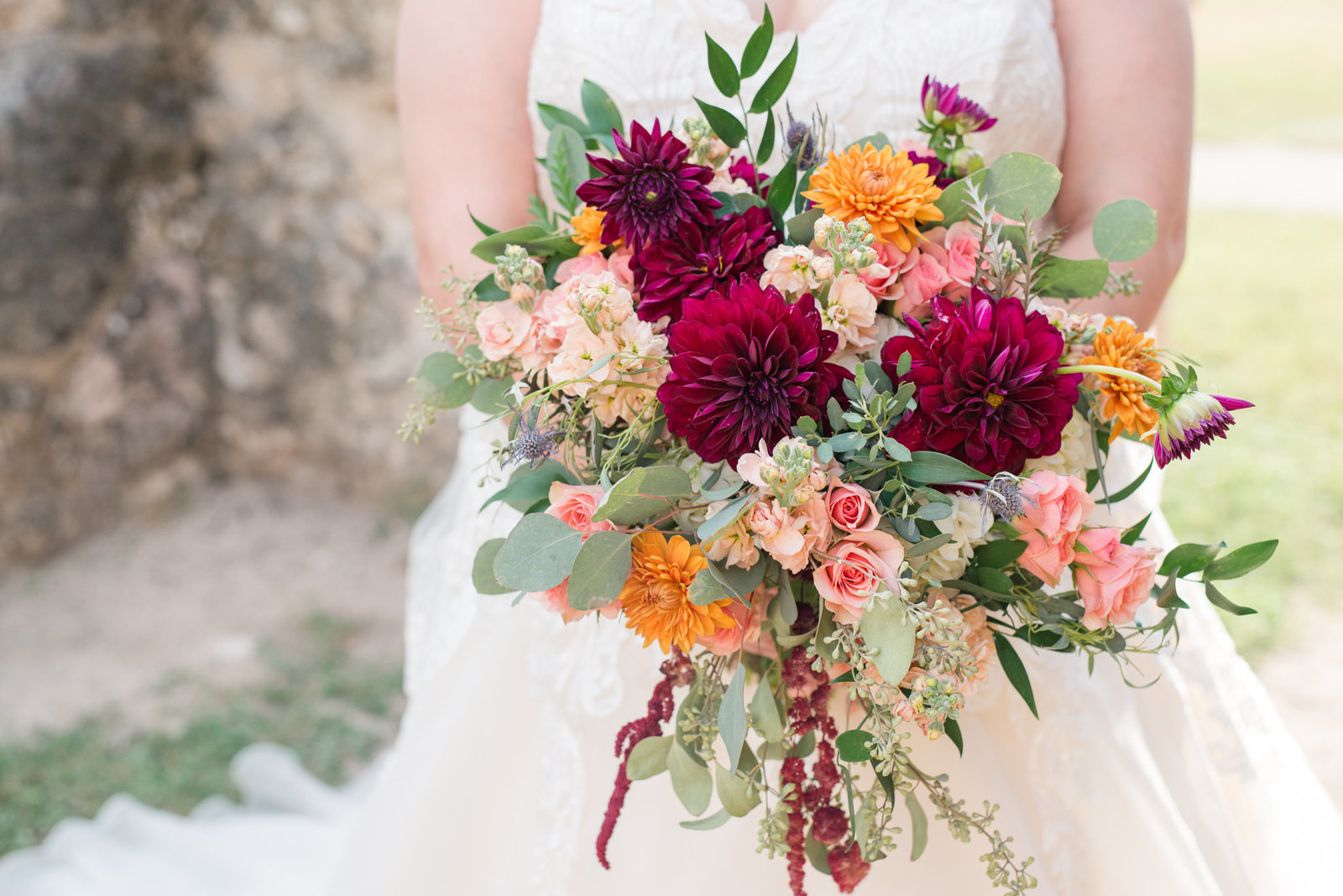 Fall Wedding Bouquet in jewel tones by Eden's Echo Florist in San Antonio