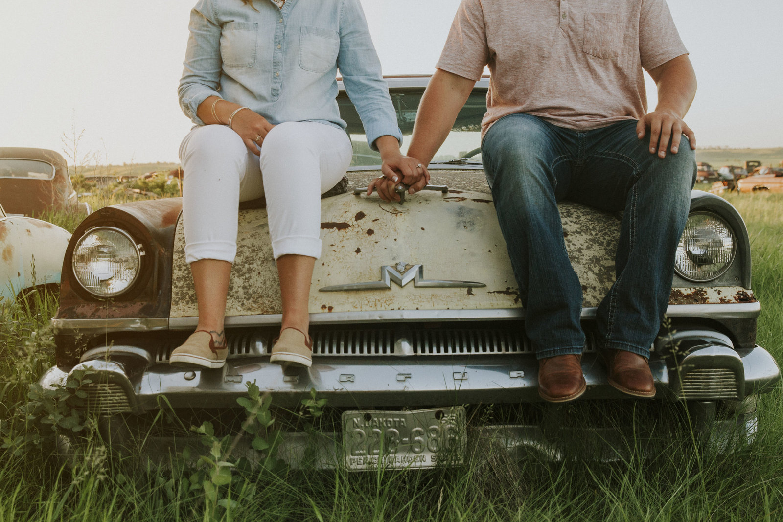engagement | old cars | elizabeth street photography | couple | LaMource, ND