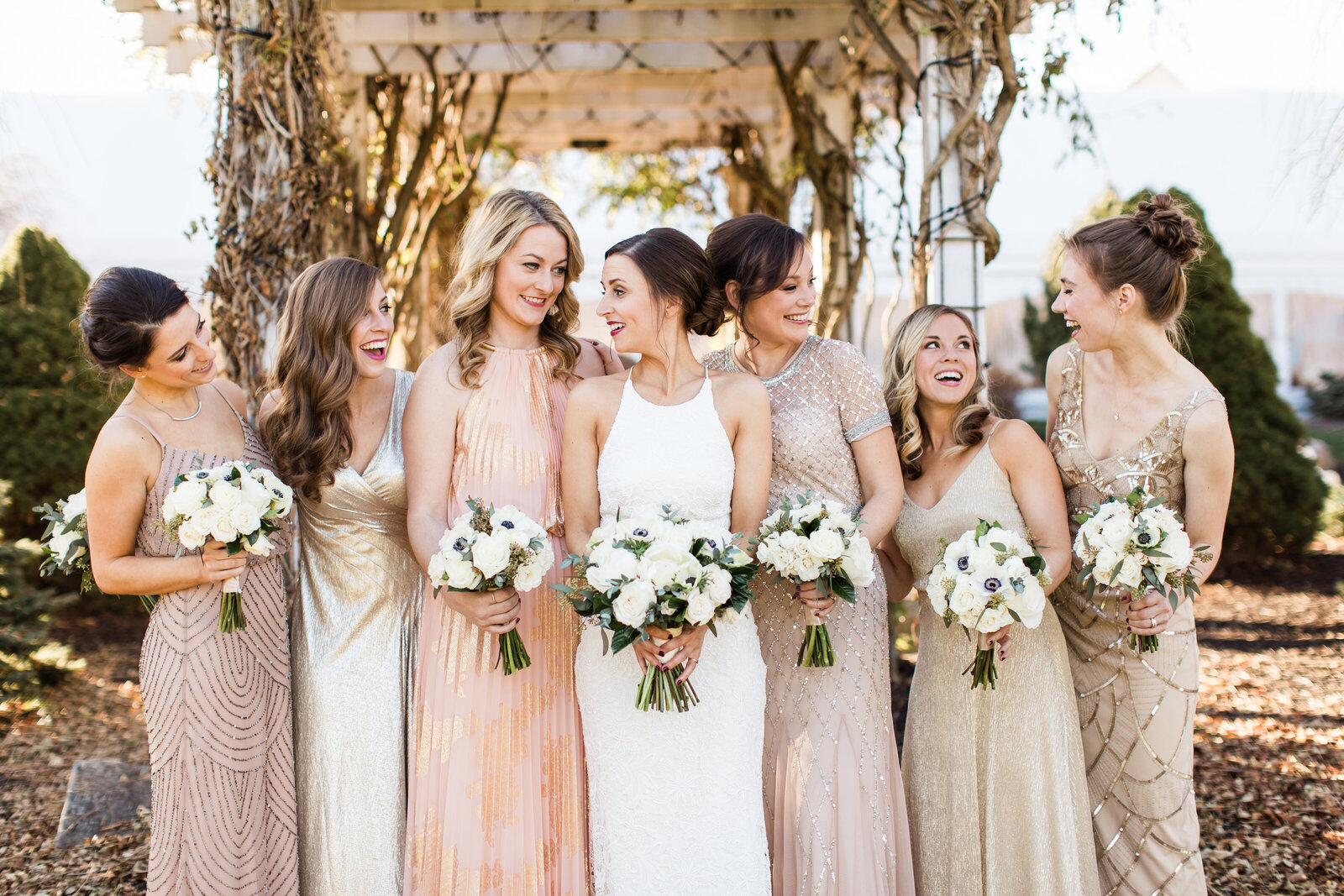 rose gold bridesmaids inspiration