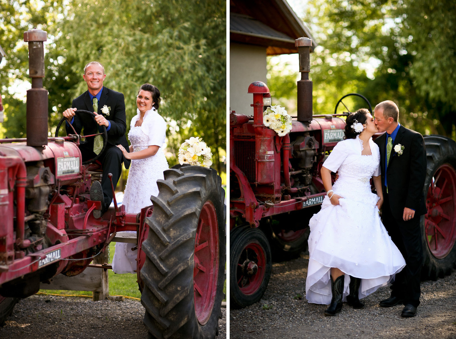 Idaho Wedding on Tractor