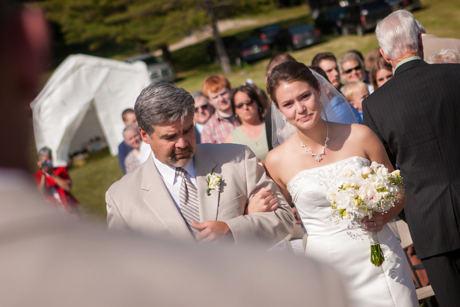 Minnesota outdoor wedding father daughter down the isle