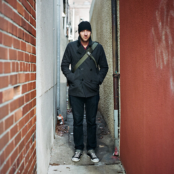 Portrait of a man in a small alley in philadelphia.