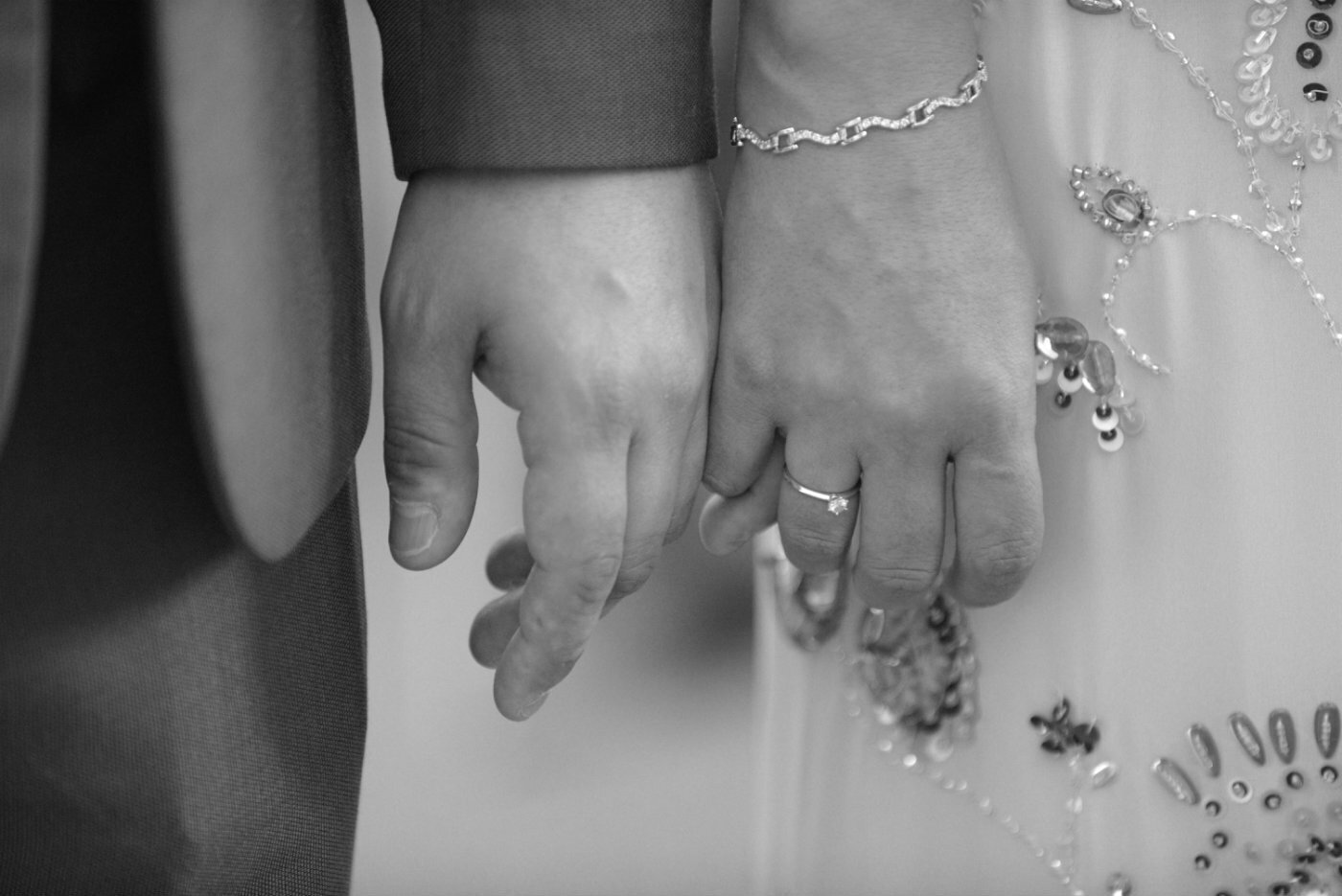 Wedding couple hands linking