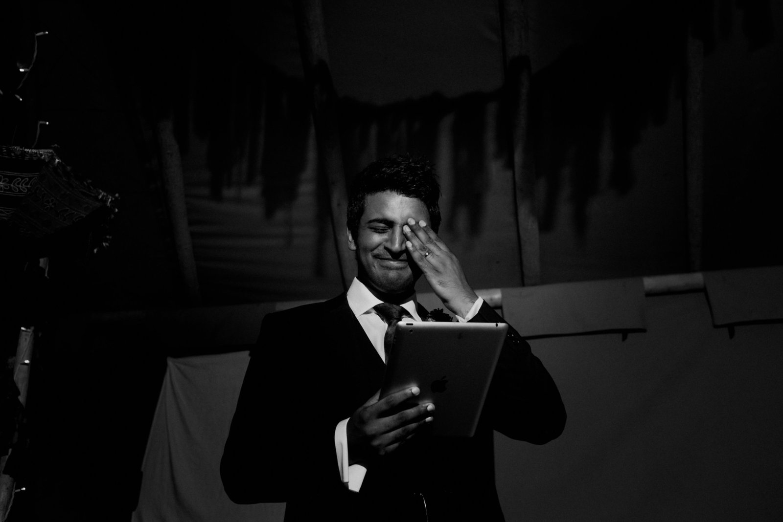 Groom crying during speech at Taitlands, Stainforth. Modern documentary wedding photographer