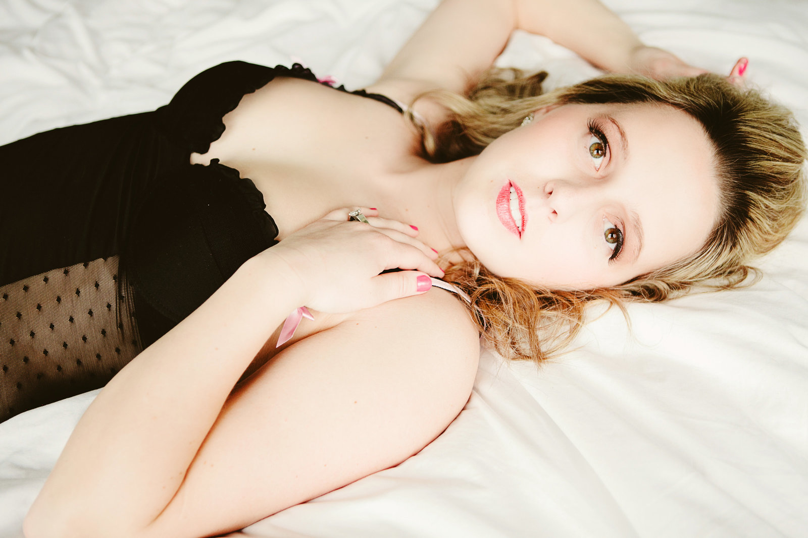 Missoula MT Boudoir Photos Black Chemise on Bed