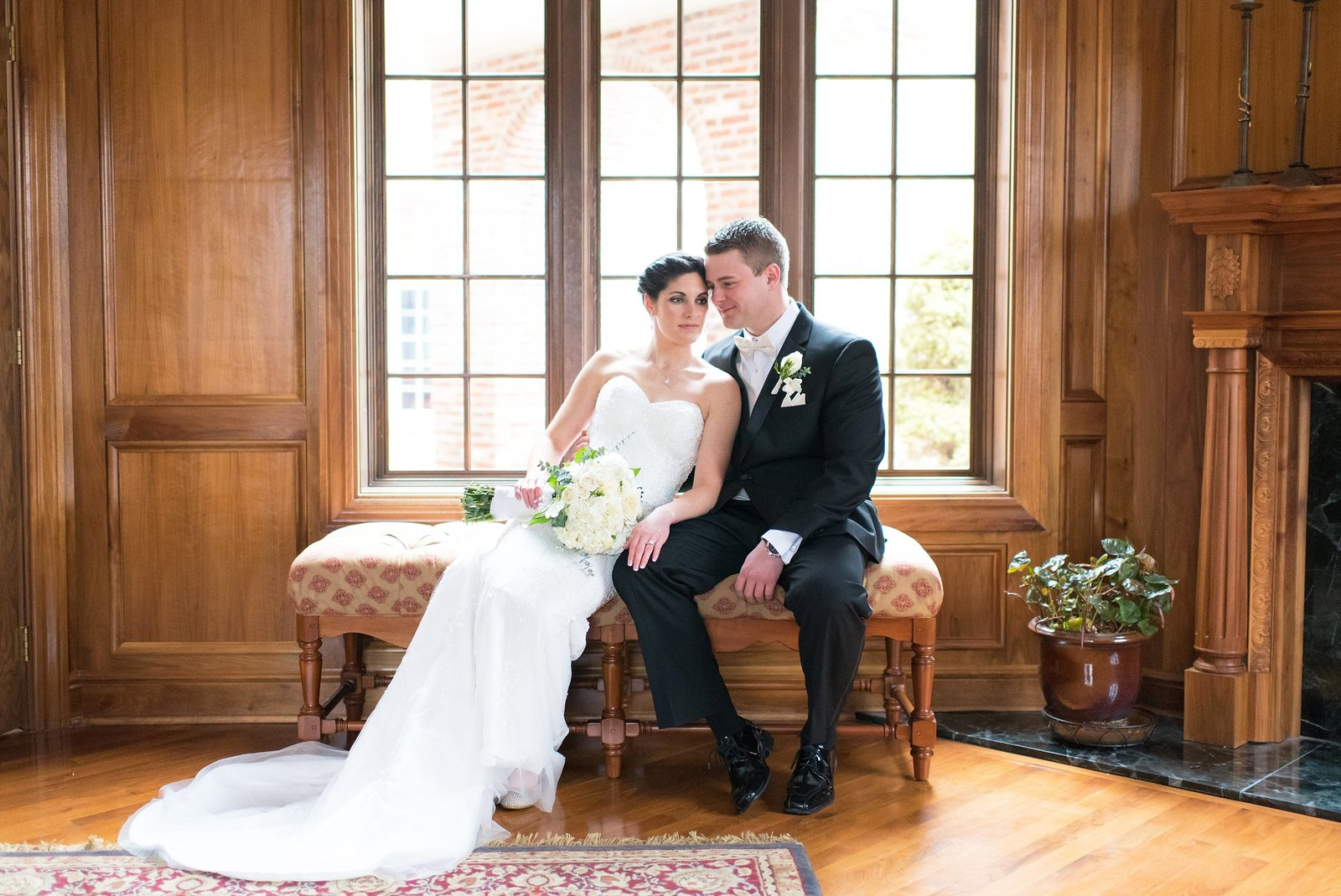 Classic Indoor Bride and Groom Wedding Wood Mantle Photo