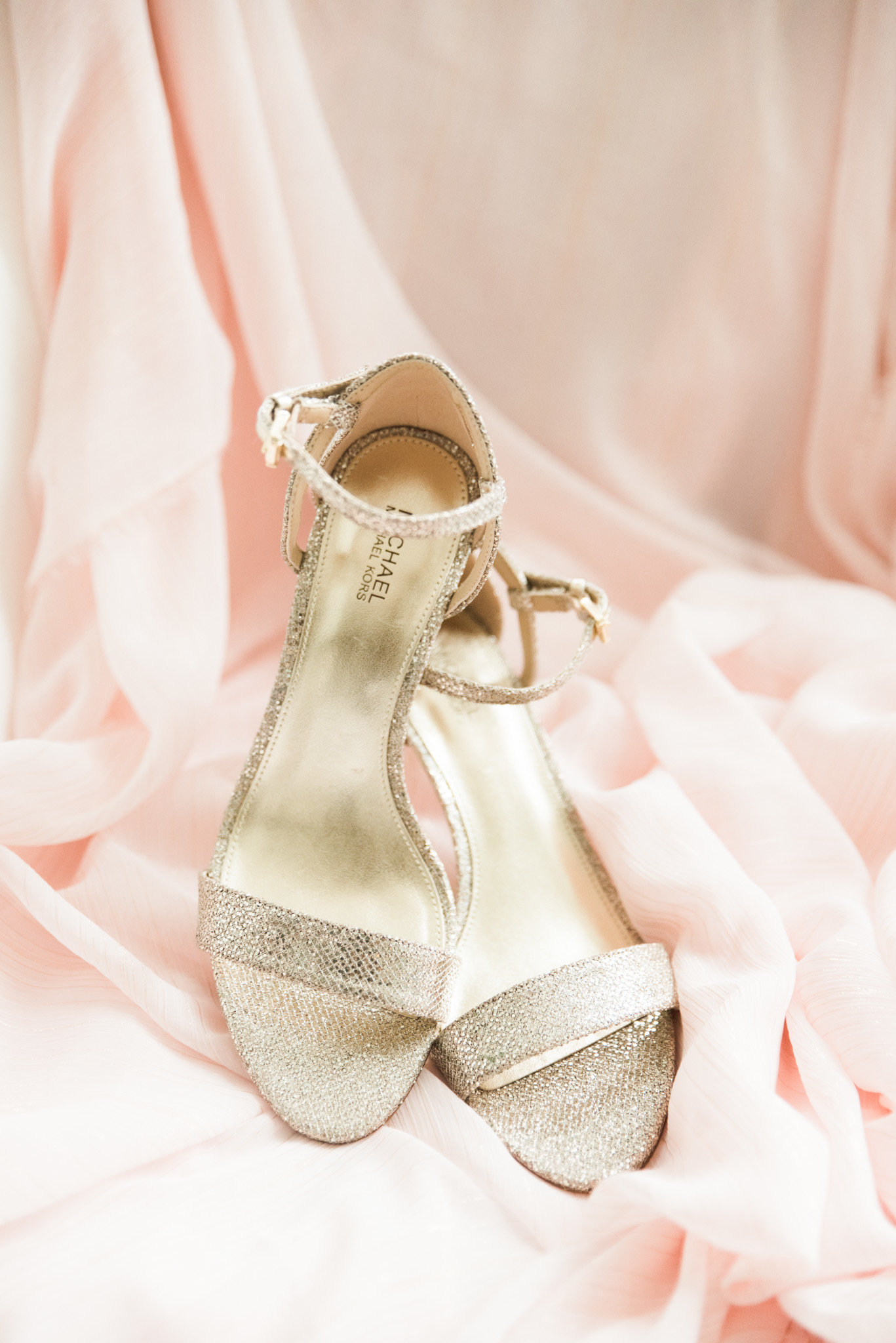 Champagne Gold Strappy Michael Kors Bridal Shoes with Blush Pink Chiffon Dress