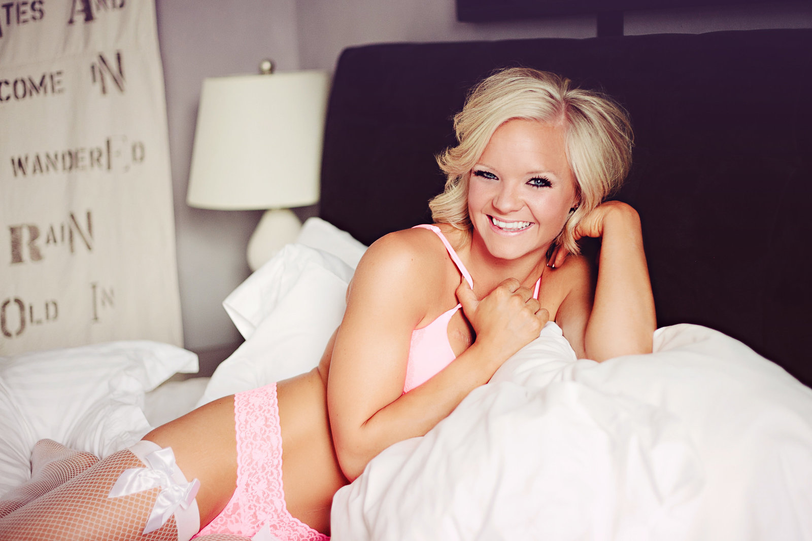 Missoula MT Boudoir Photos Laughing in Pink Lingerie
