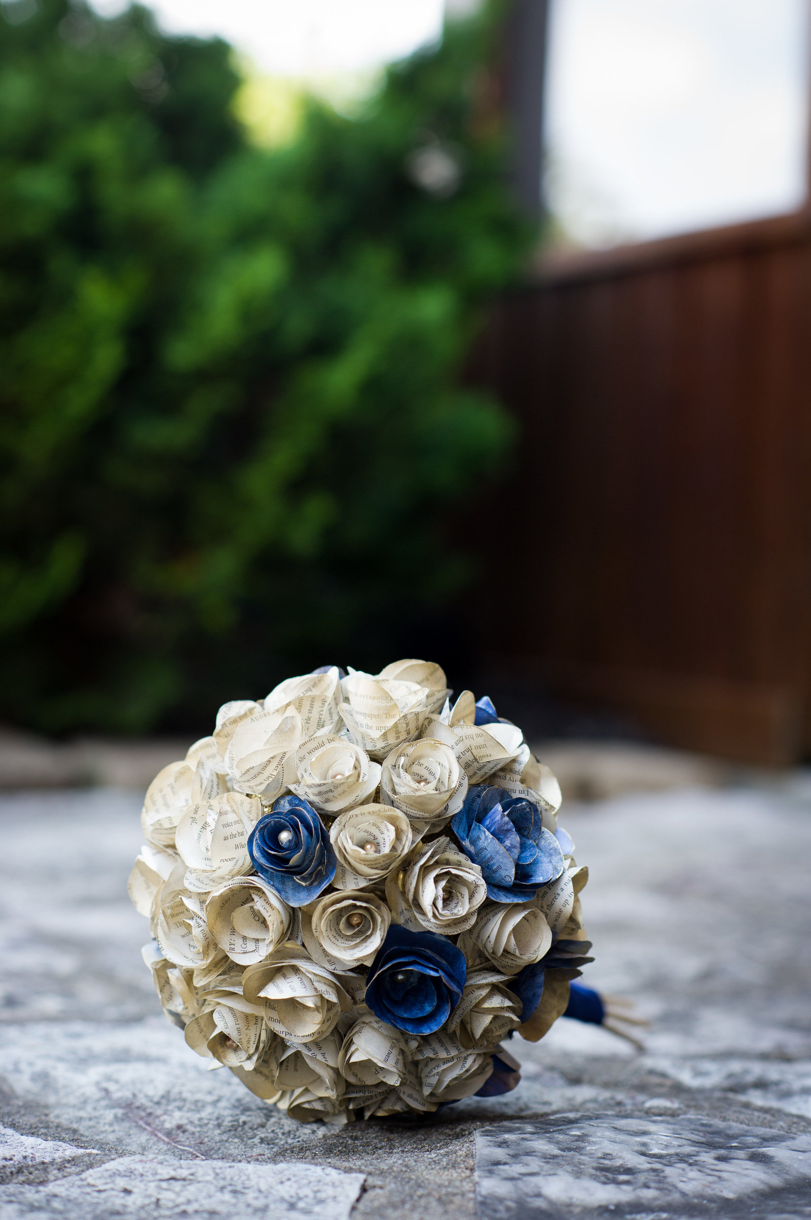 Paper wedding bouquet for Hocking Hills Ohio wedding.