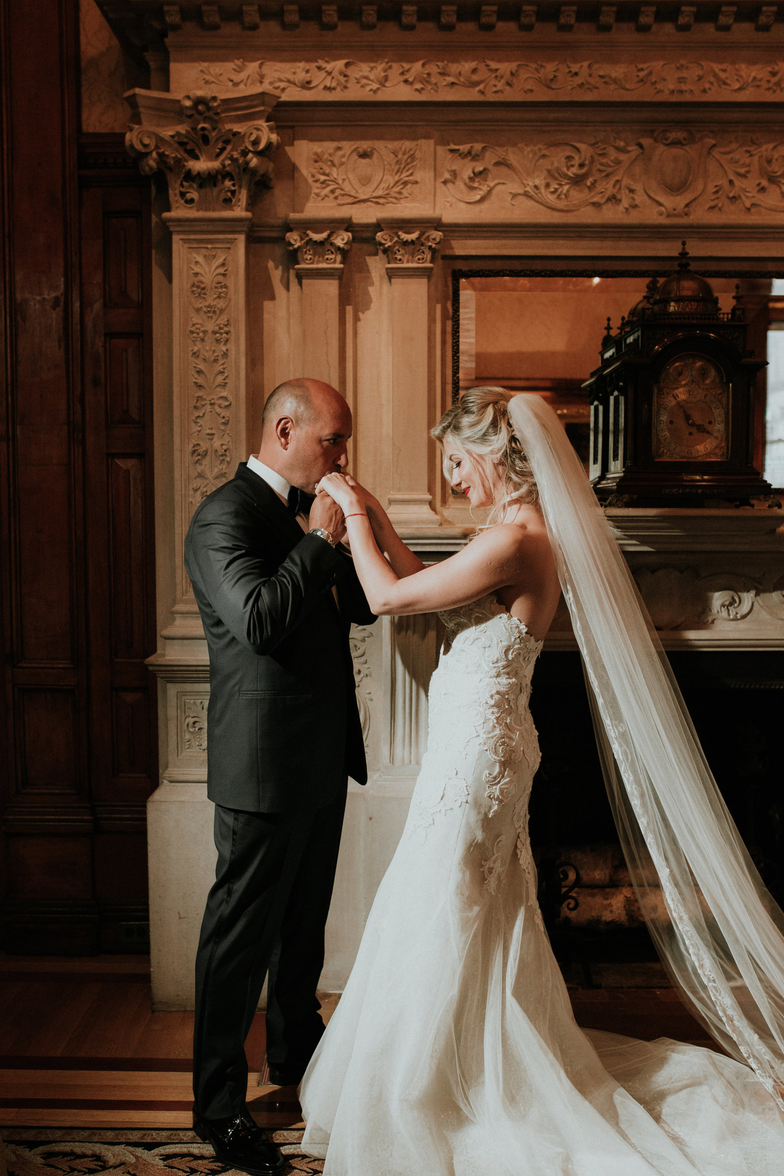 a couple enjoys a wedding moment at the european style at the union league in philadelphia