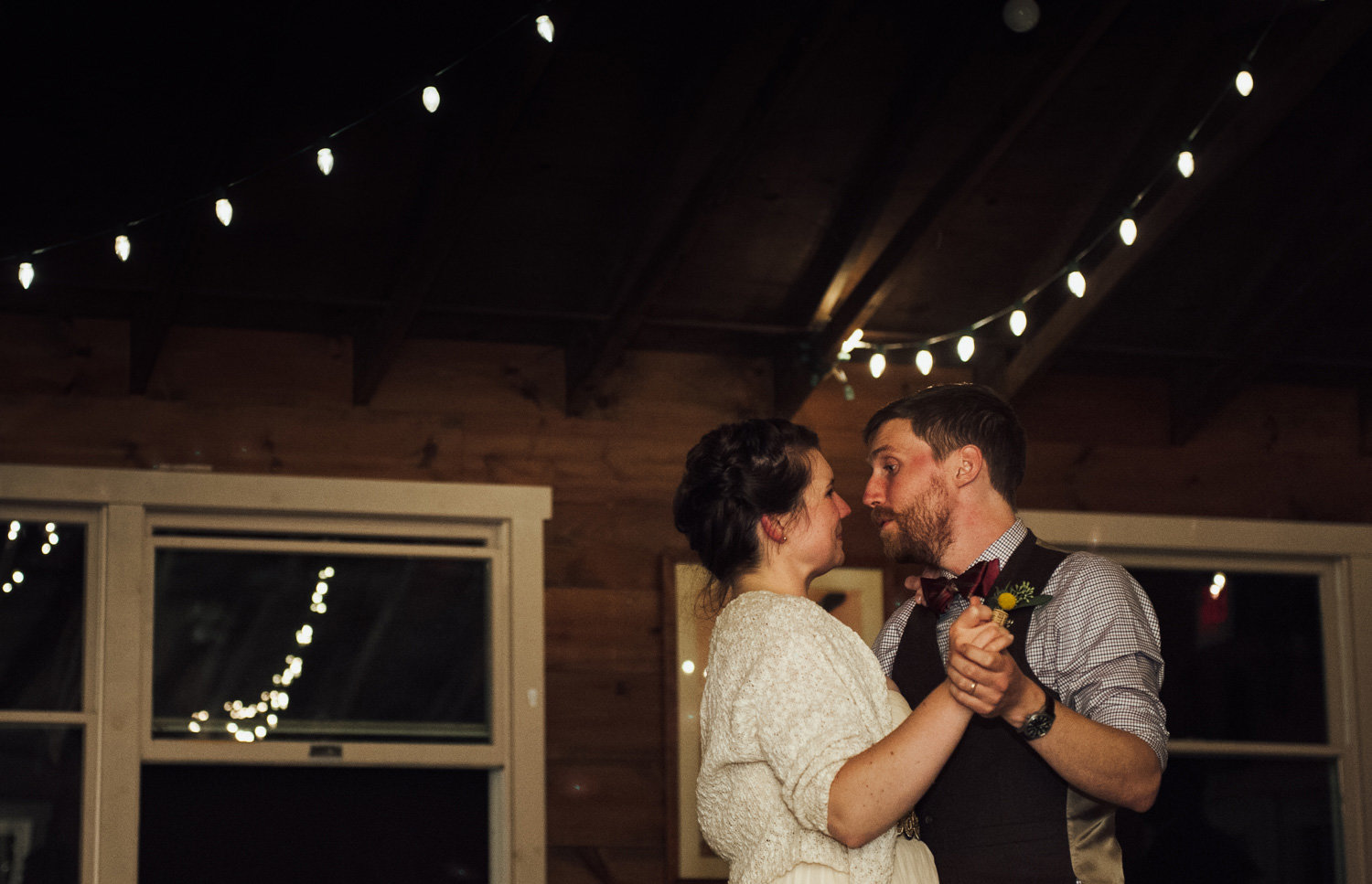 first dance in cabin at camp wedding