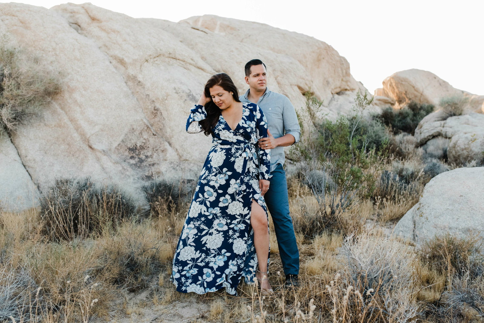 Engagement photos shot in the beautiful Mojave Desert