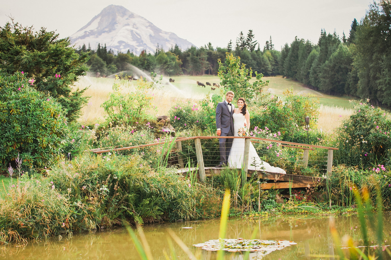 Mt Hood Bed and Breakfast Wedding portrait of bride and groom | Susie Moreno Photography