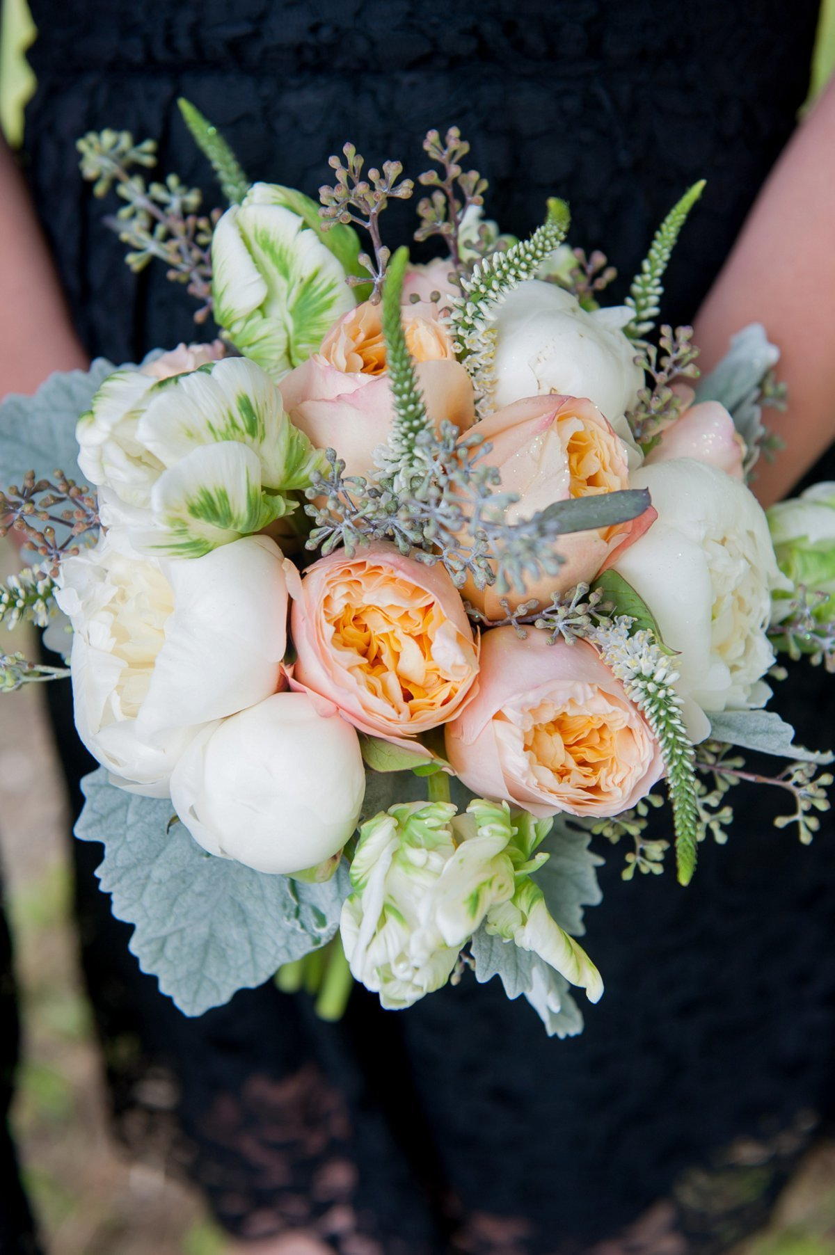 Peach, green, gray and navy wedding colors and florals, kris kandel photographer