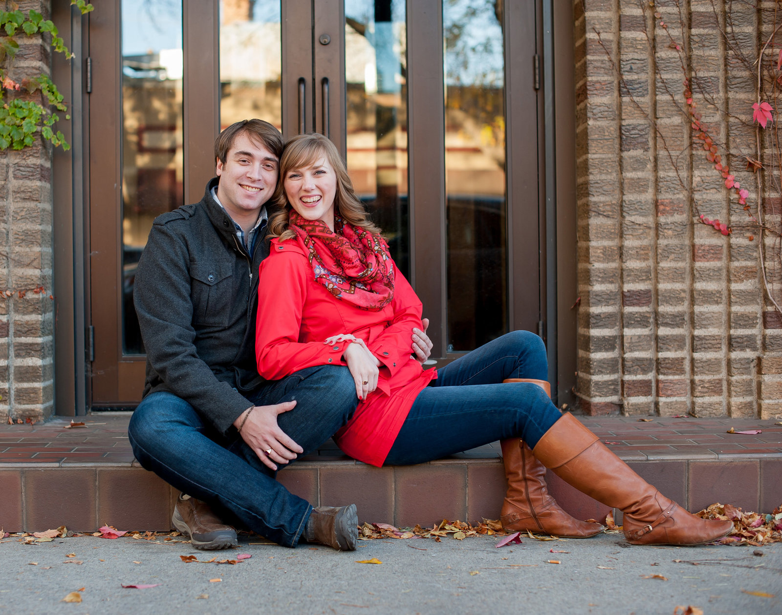 Downtown Fargo fall engagement session kris kandel