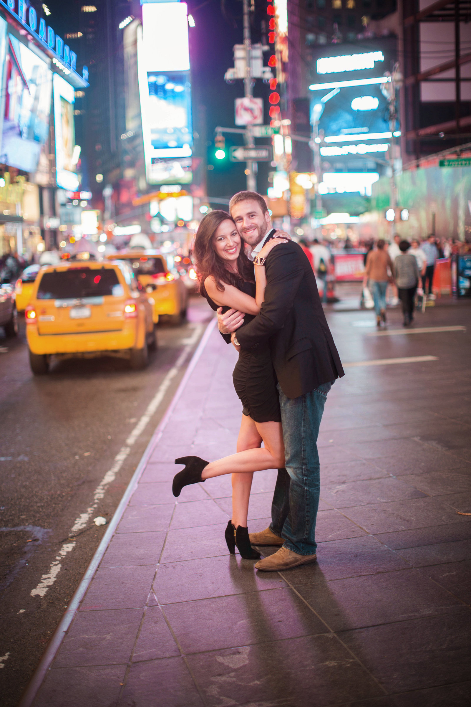 times square engagament session