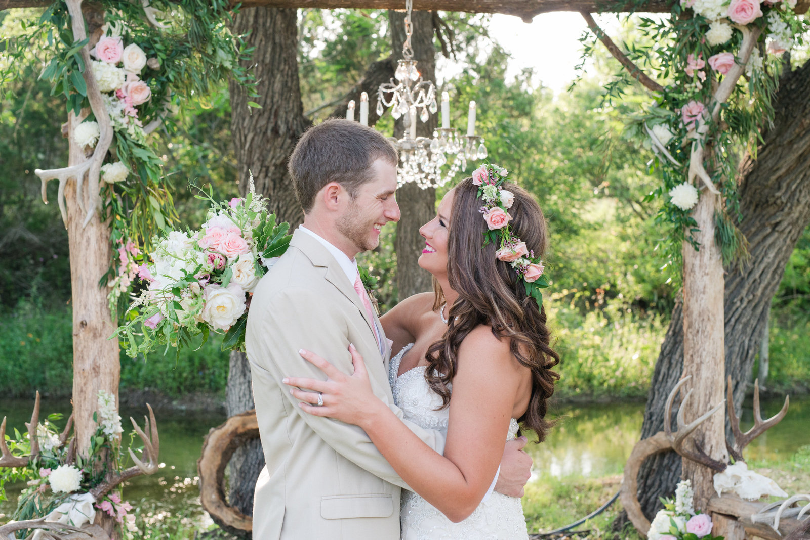 Bride and Groom have antler themed wedding at The Creek Haus in Dripping Springs