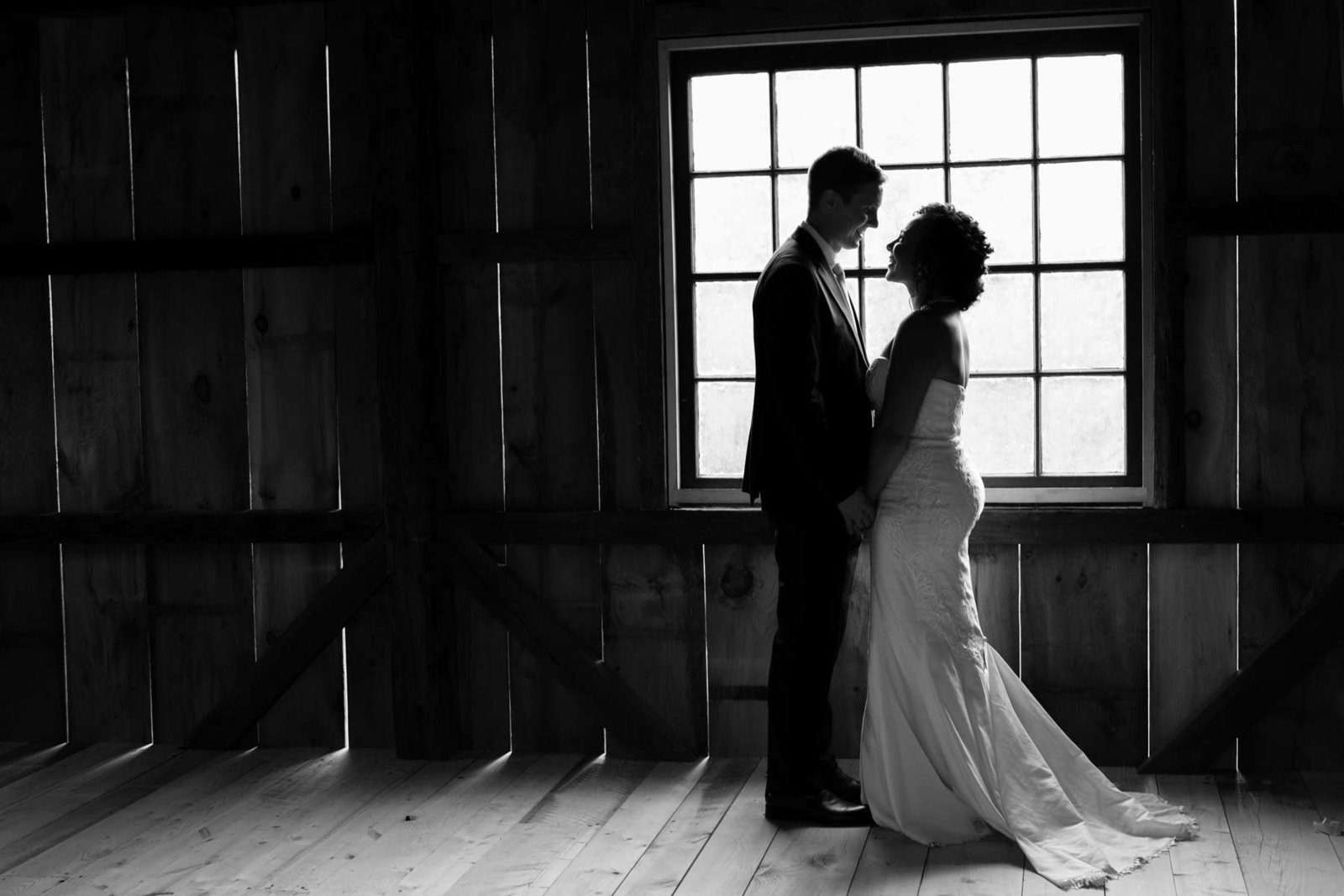 Canterbury NH Wedding in Shaker Village inside a whiskey barn