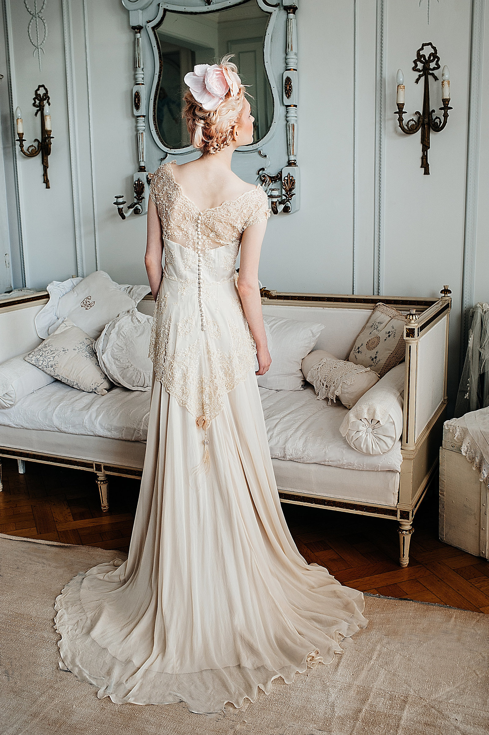 LilyElsie_beaded_lace_edwardian_champagne_wedding_dress_JoanneFlemingDesign