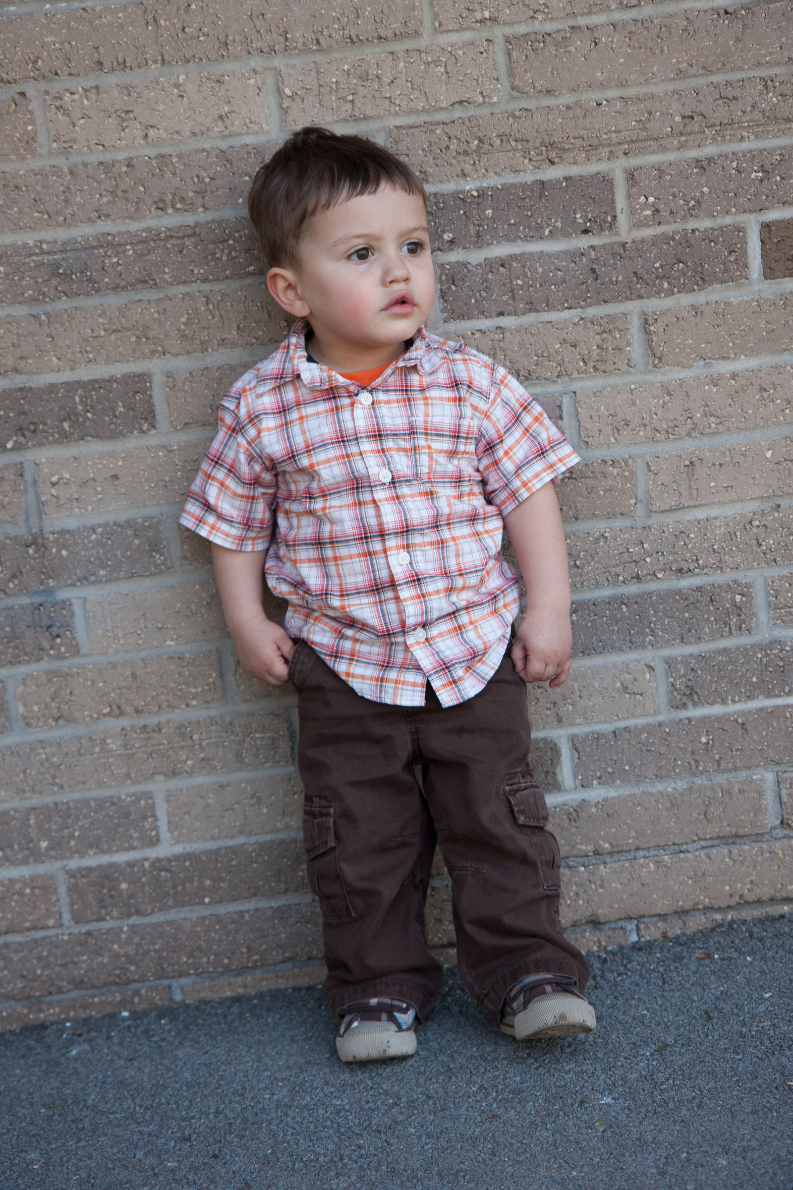 Toddler Portrait on brick wall-18