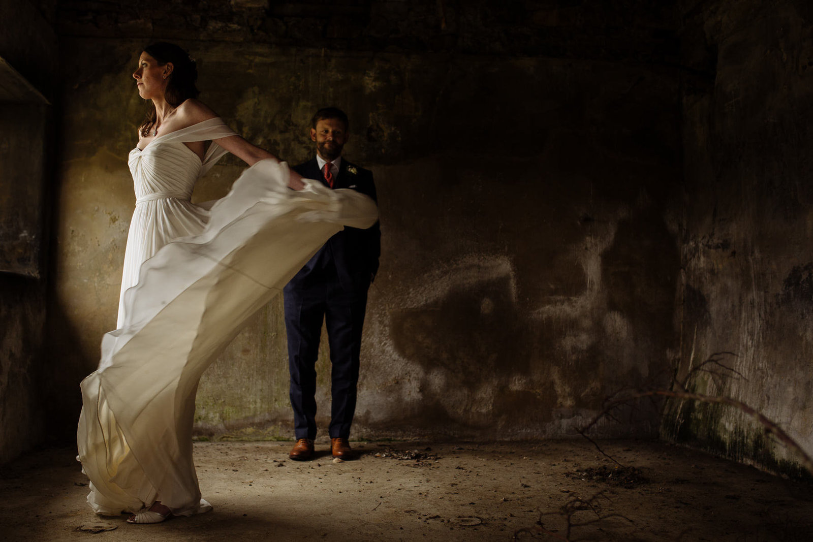 Bride and groom in barn. Leeds rustic wedding photography, yorkshire