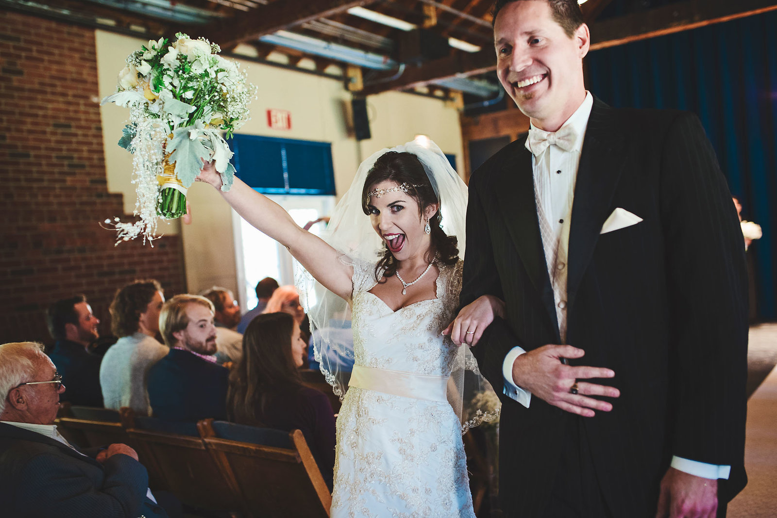 happy bride and groom, theater wedding, Great Gatsby theme wedding
