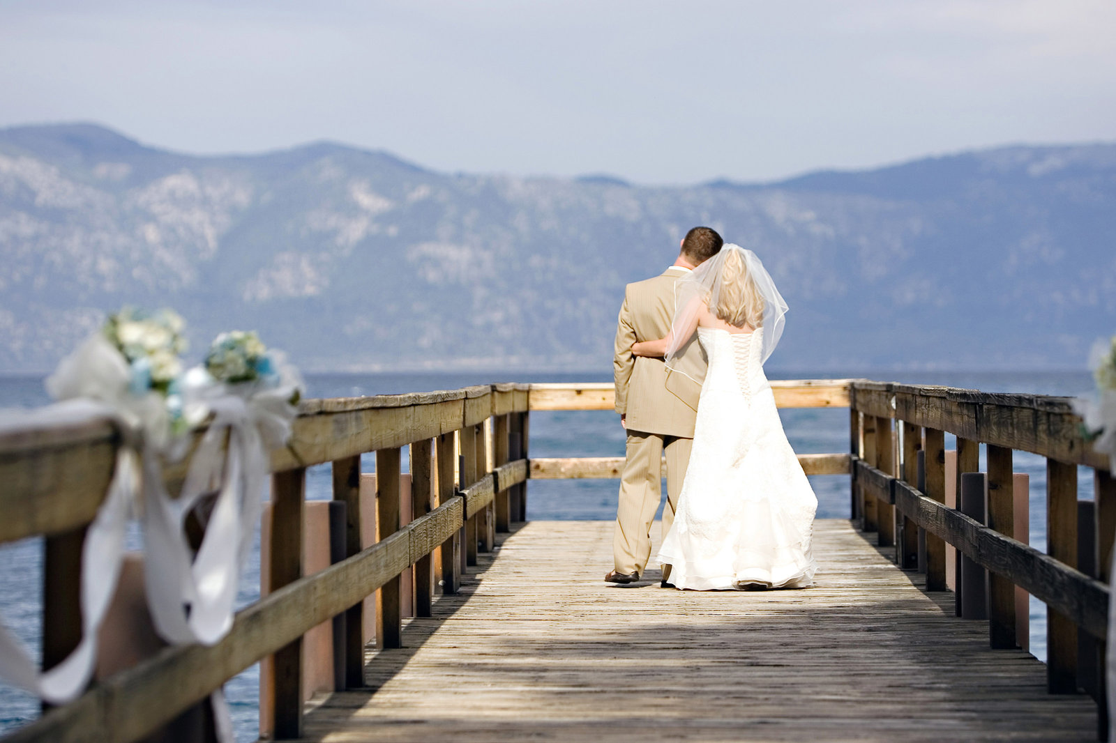 Chinquapin Wedding, Lake Tahoe Wedding, bride and groom on pier, Jennifer Baciocco Photography