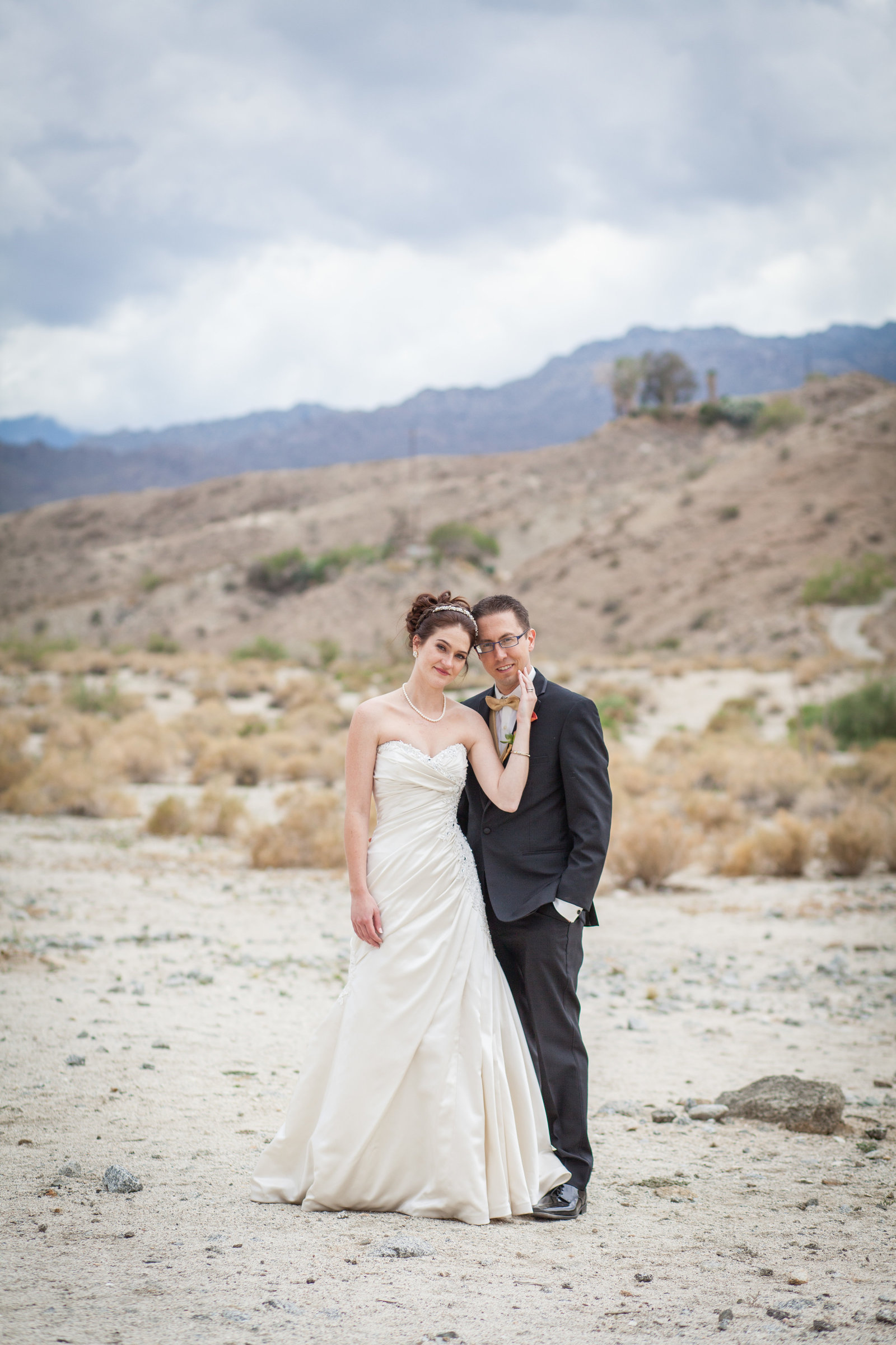 Palm Desert Bride and Groom Sunset Portrait