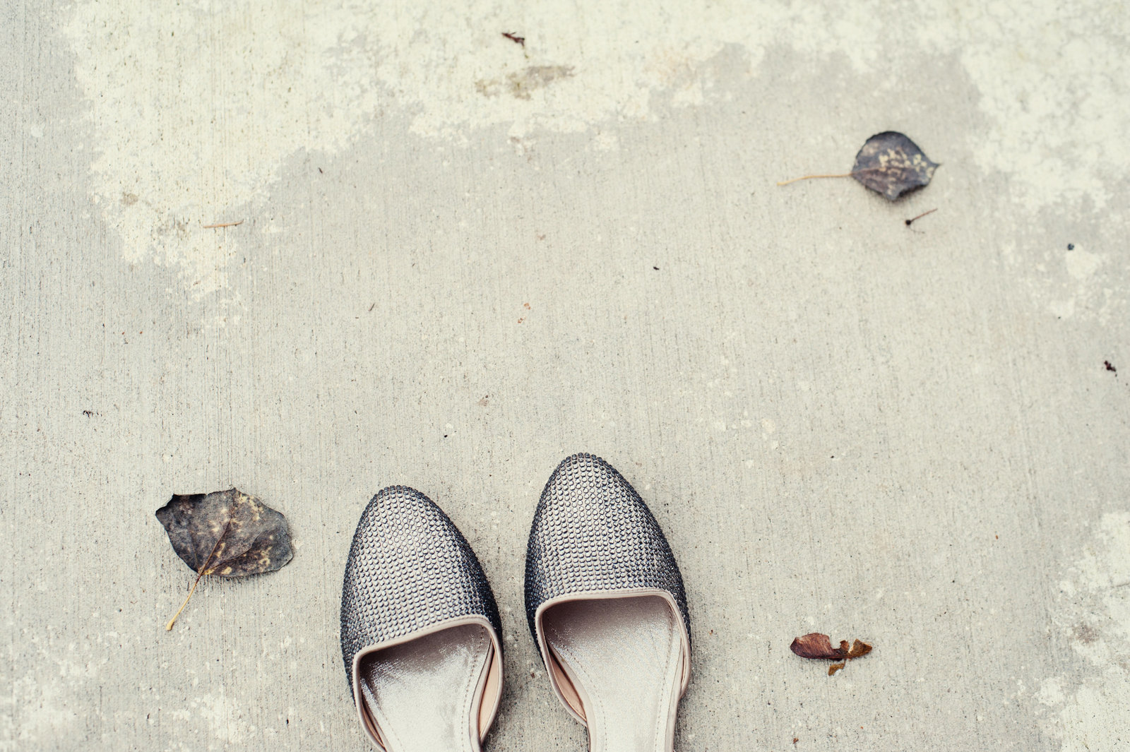 silver wedding flats in fall